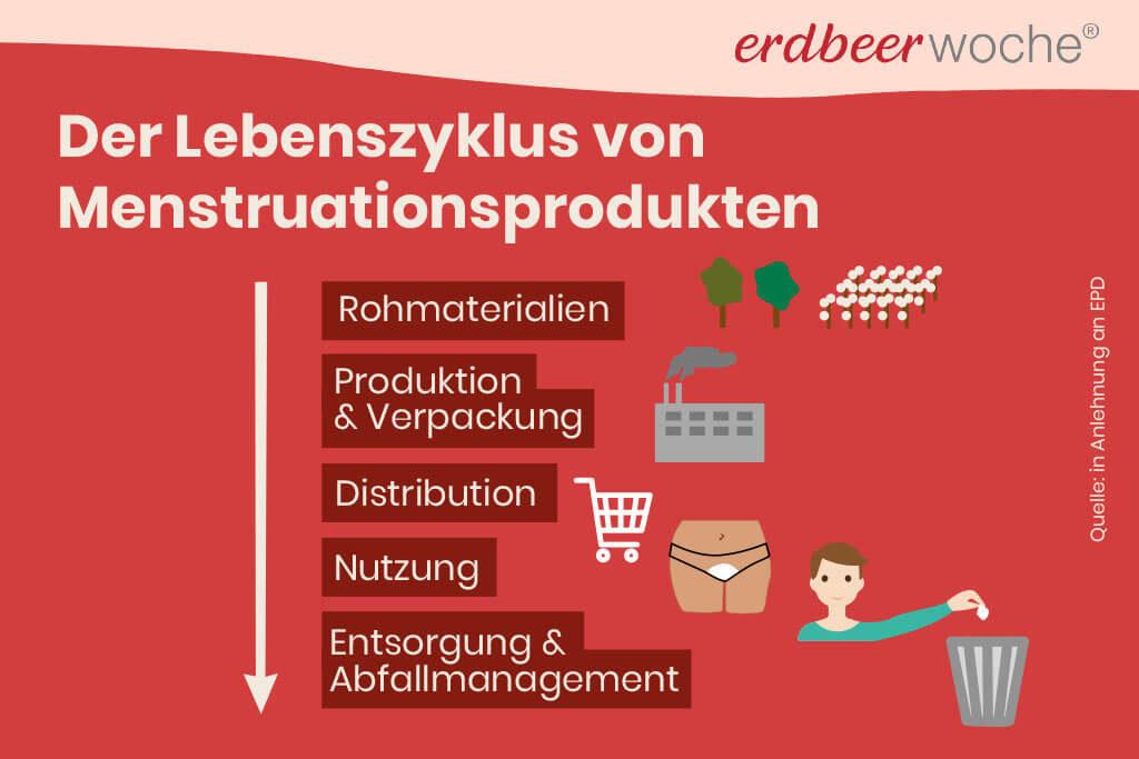 Rohmaterial Produktion Nutzung Entsorgung von Menstruationsprodukten