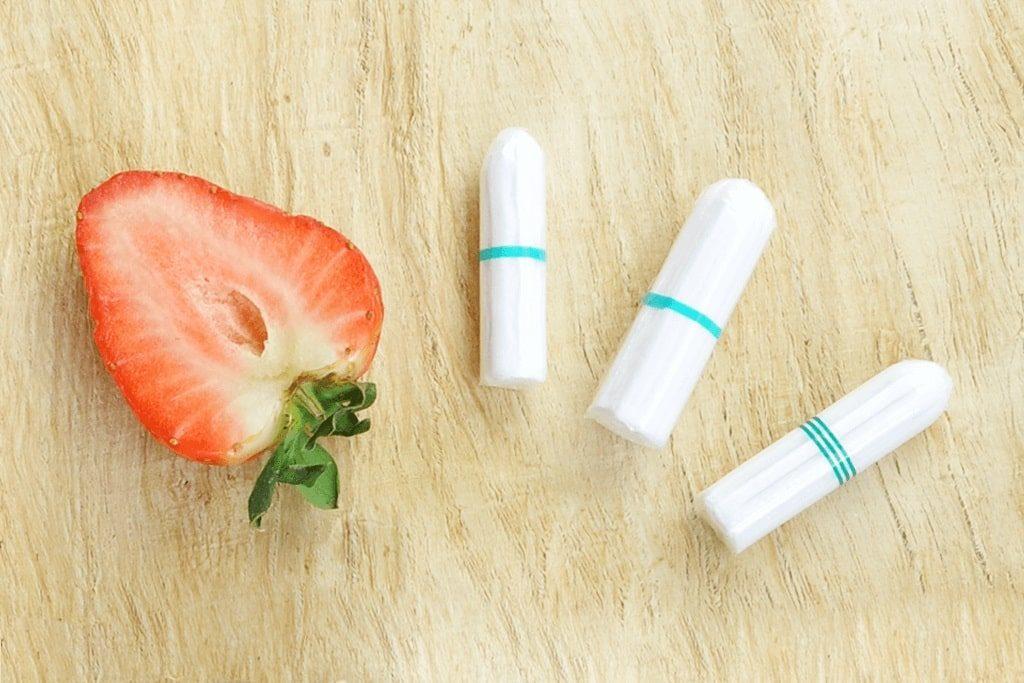 bio baumwolle tampon mit erdbeere