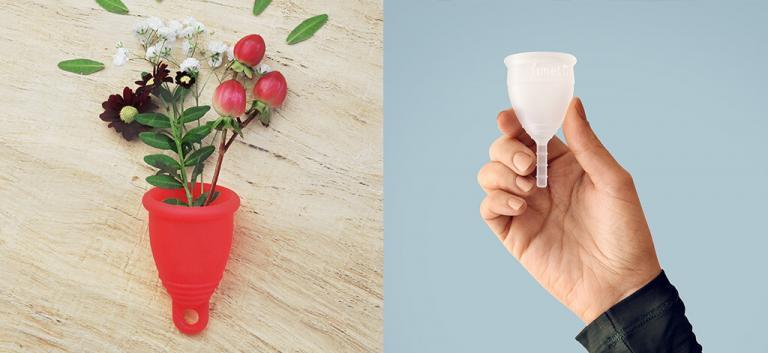 menstruationstassen weiss und rot