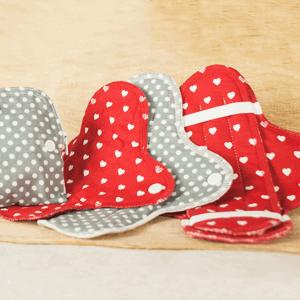 Stoffbinden rot und grau aus Baumwolle