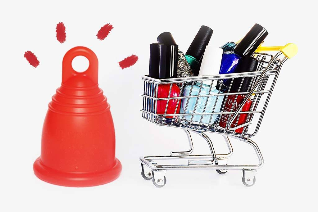 Menstruationstasse mit Einkaufswagen